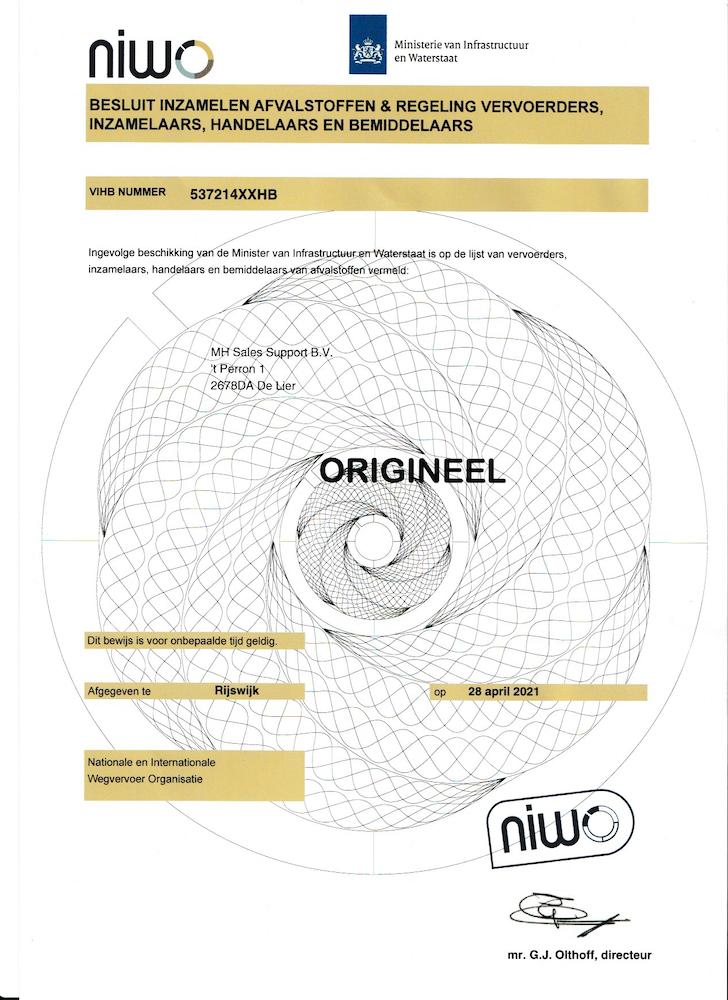 Afzetbak.nl NIWO VIHB certificaat