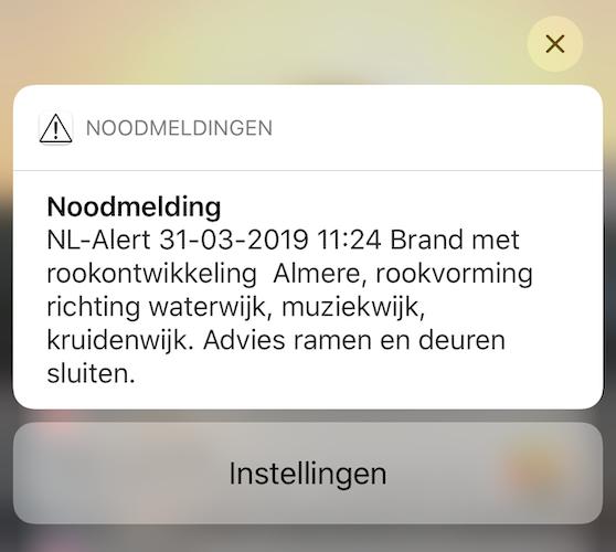 NL-Alert ontvangen brannd almere de vijfhoek